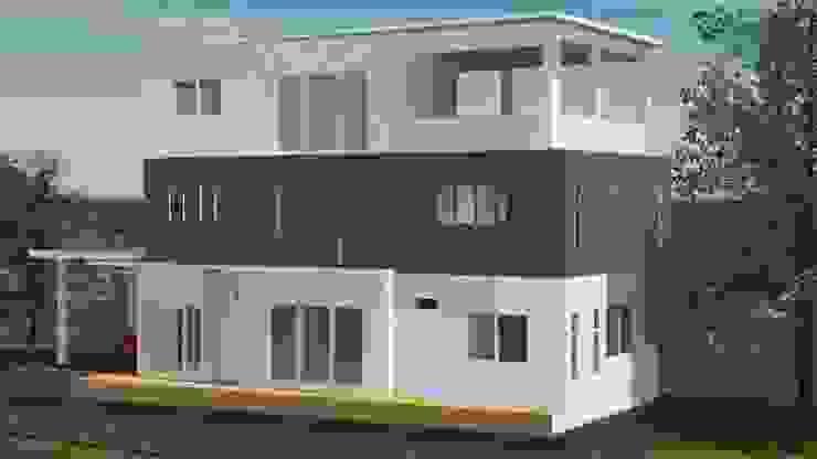 ออกแบบ 3d บ้าน 3 ชั้นให้ลูกค้า style modern โดย mayartstyle โมเดิร์น หินปูน