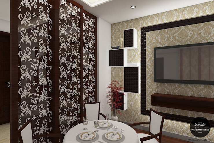 Breakfst Table in Living Room & Wooden Partition: modern  by La Studio Embellissement,Modern