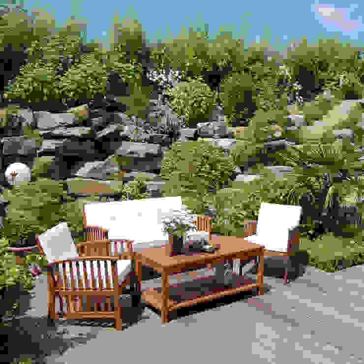 In einem tiefer gelegten Gartenteil zwischen Steinen und Pflanzen... 2kn Architekt + Landschaftsarchitekt Garten im Landhausstil Stein Grün