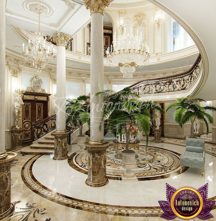 House Design in Kenya from Katrina Antonovich Classic style corridor, hallway and stairs by Luxury Antonovich Design Classic
