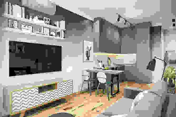 Студия архитектуры и дизайна Дарьи Ельниковой Eclectic style living room Green