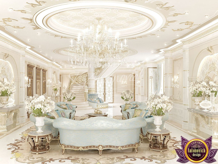 ​ Royal interiors by Katrina Antonovich Classic style corridor, hallway and stairs by Luxury Antonovich Design Classic