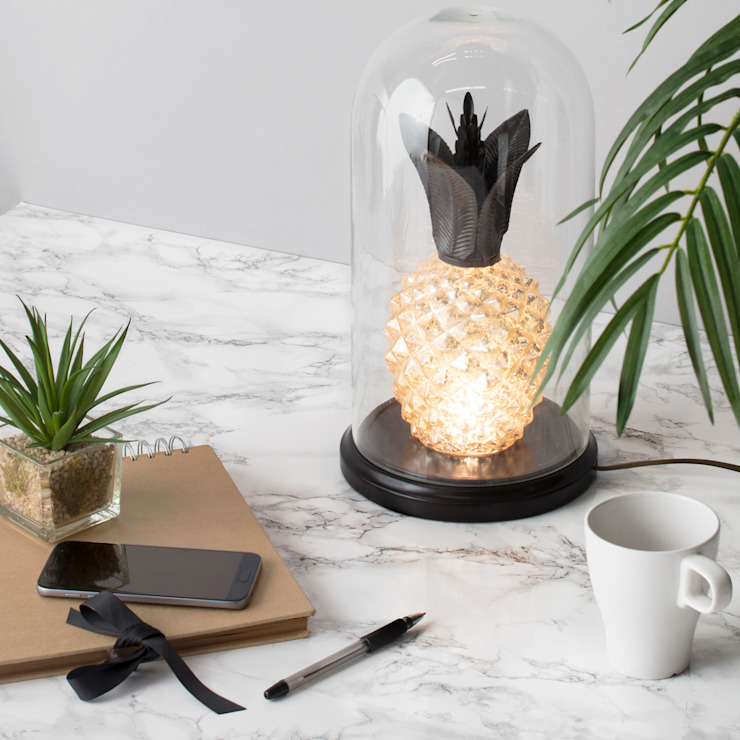 Glass Pineapple Bell Jar Table Lamp - Glass Litecraft Living roomLighting Glass