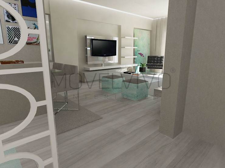 3D Living Room Modern Media Room by Movelvivo Interiores Modern