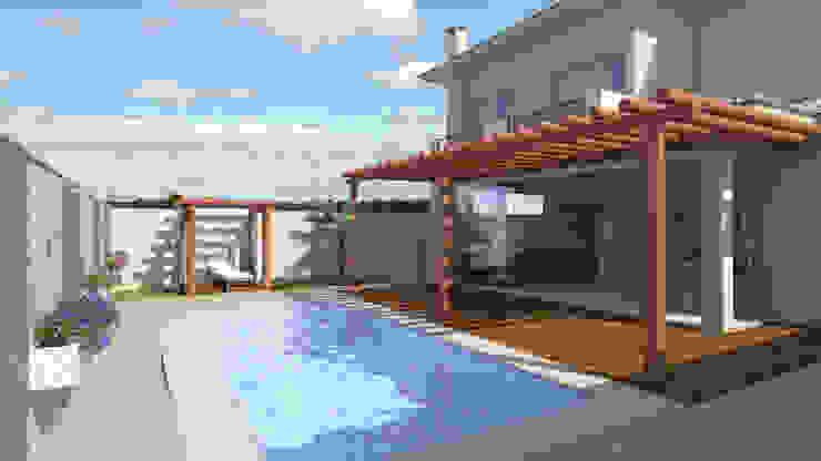 casa clássica , varanda com pergolado por Renata Prata Studio