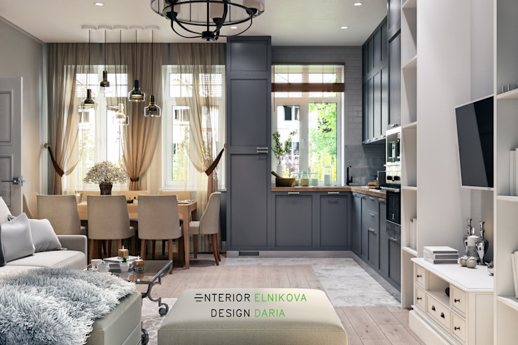 Студия архитектуры и дизайна Дарьи Ельниковой ห้องนั่งเล่น