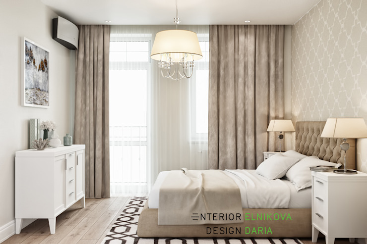 Студия архитектуры и дизайна Дарьи Ельниковой ห้องนอน