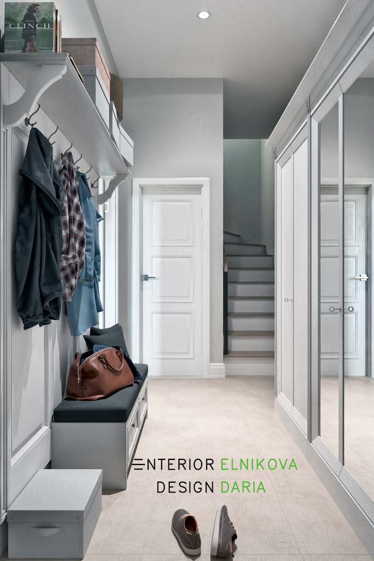 Студия архитектуры и дизайна Дарьи Ельниковой Country style corridor, hallway& stairs