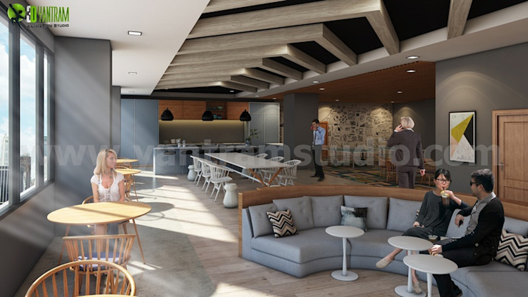 Creative Modern Grey Office Kitchen Ceiling Design Ideas by Yantram Architectural Design Studio Modern Marble
