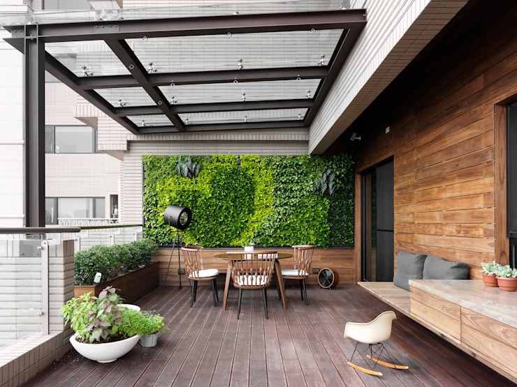 بلكونة أو شرفة تنفيذ 禾築國際設計Herzu  Interior Design,