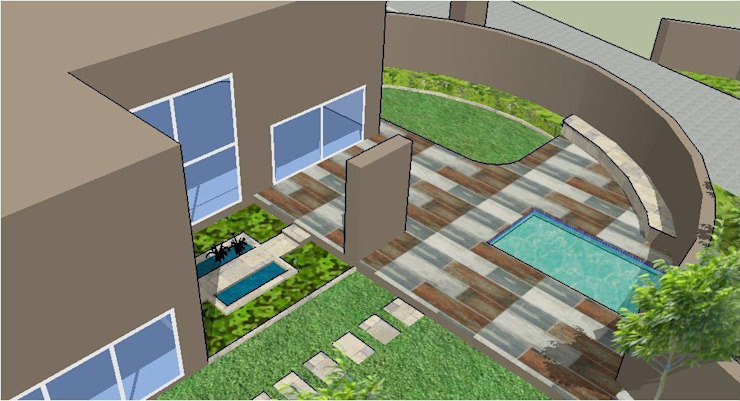 3D design of new pool, patio and water feature by Acton Gardens Eclectic
