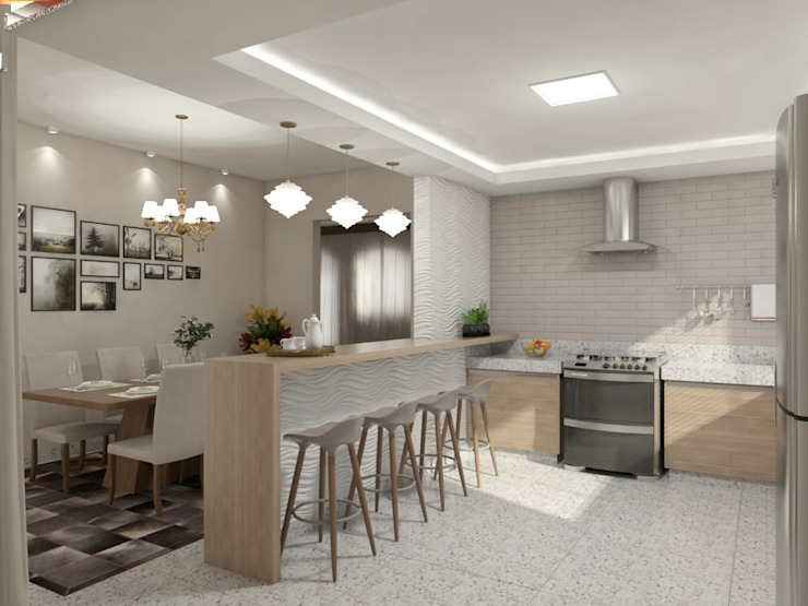 Sala de estar, jantar e cozinha Cozinhas minimalistas por Marcela Matos Arquitetura e Interiores Minimalista