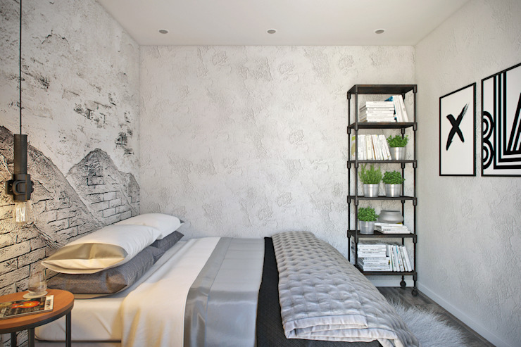 Студия архитектуры и дизайна Дарьи Ельниковой Industrial style bedroom