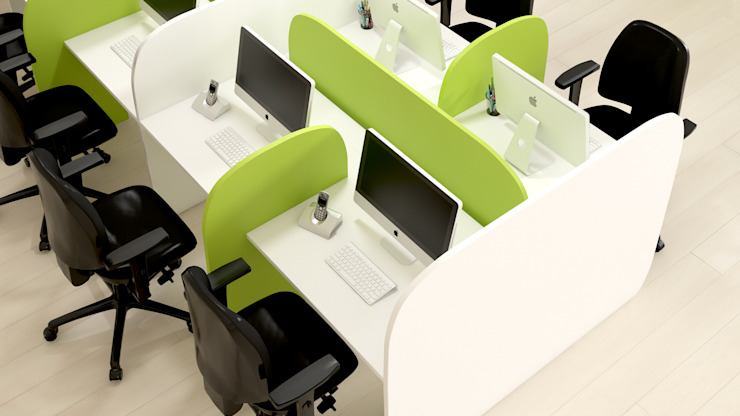 Call center work station por FERCIA - Furniture Solutions Moderno Derivados de madeira Transparente