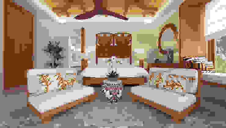 Dormitorio con alfombra de mimbre unida por varias circunferencias que combina con el techo de bambú Dormitorios de estilo tropical de Hdl Studio Tropical Madera Acabado en madera
