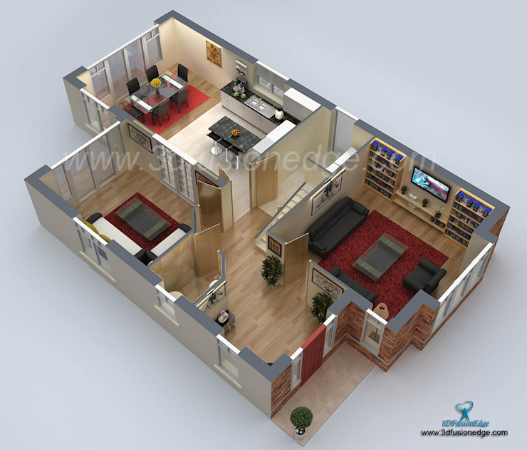 3d floor plan apartment Oleh 3DFUSIONEDGE