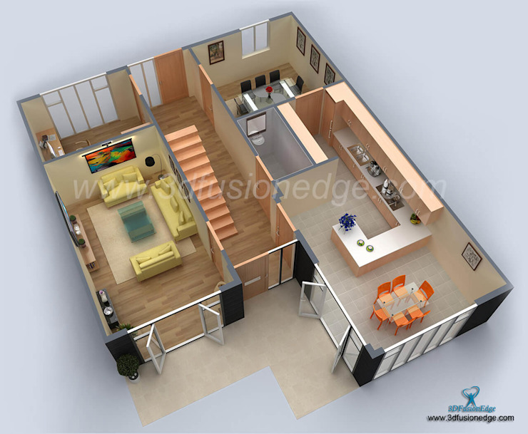 3d floor plan bedroom bởi 3DFUSIONEDGE