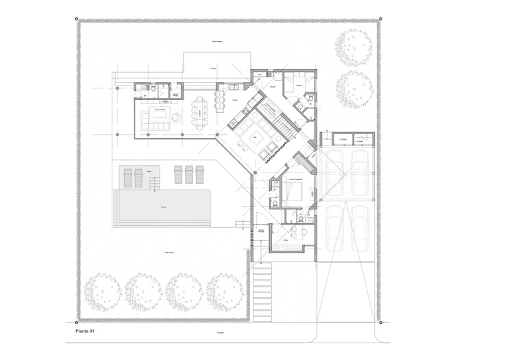 Planta 01 Casas de estilo minimalista de del castillo schiffino | dCS* Minimalista