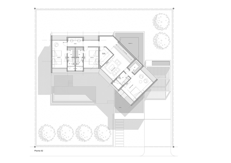 Planta 02 Casas de estilo minimalista de del castillo schiffino | dCS* Minimalista