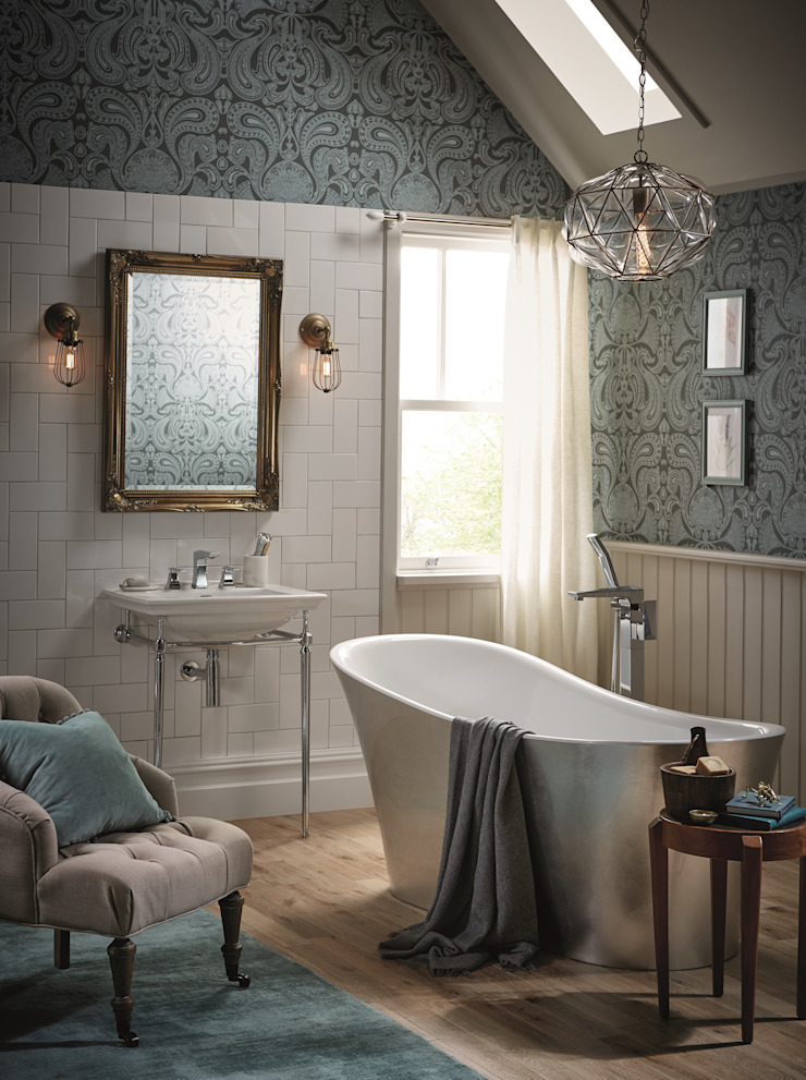 Blenheim basin with Abingdon washstand and Holywell metallic effect acrylic bath in steel Classic style bathroom by Heritage Bathrooms Classic