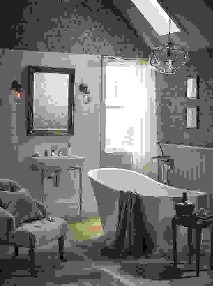 Blenheim basin with Abingdon washstand and Holywell metallic effect acrylic bath in steel Baños de estilo clásico de Heritage Bathrooms Clásico