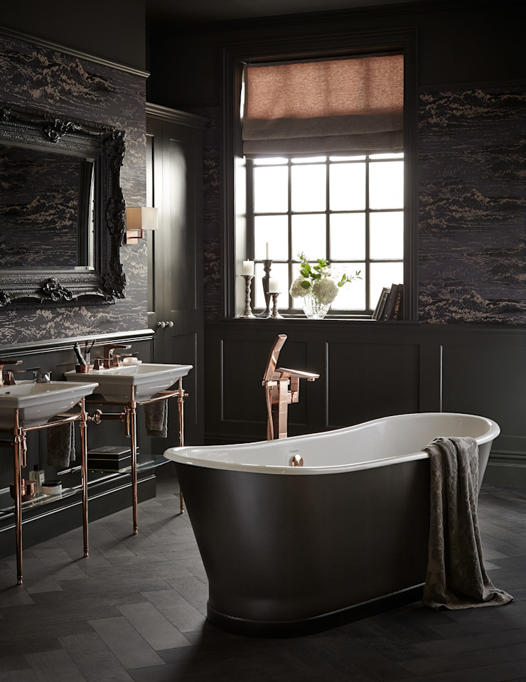 Madeira cast iron bath with Hemsby floorstanding bath filler in rose gold Classic style bathroom by Heritage Bathrooms Classic