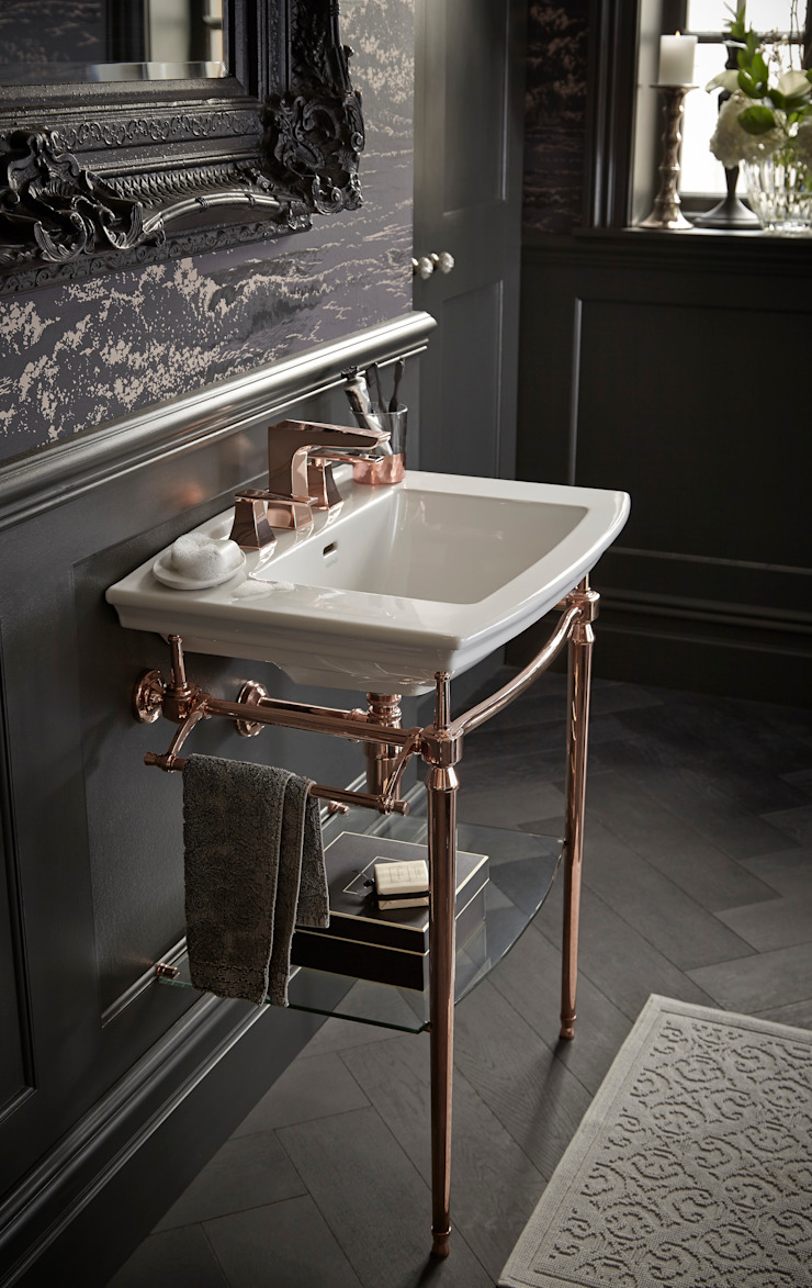 Abingdon washstand and Hemsby 3 hole basin mixer in rose gold Classic style bathroom by Heritage Bathrooms Classic