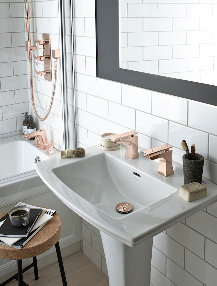 Blenheim basin with Hemsby basin taps in rose gold Classic style bathroom by Heritage Bathrooms Classic