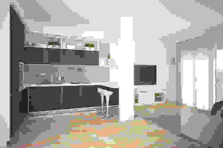 render zona giorno Cucina moderna di Silvana Barbato, StudioAtelier Moderno