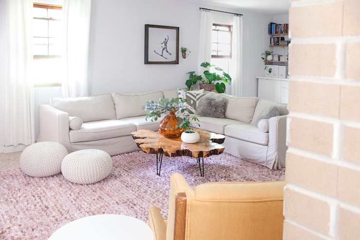 Replacement slipcovers: IKEA Karlstad Sectional Sofa with linen covers: classic  by Comfort Works Custom Slipcovers, Classic Textile Amber/Gold