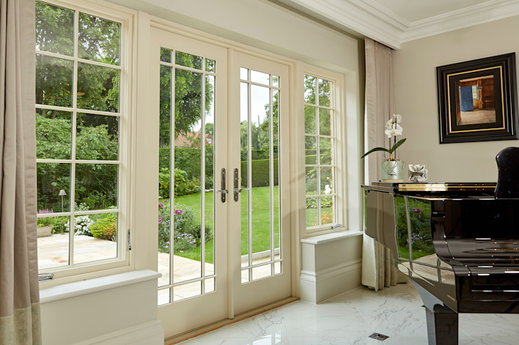 Marvin's Premium AluClad Wood Double French Door With French Vanilla Finish Modern windows & doors by Marvin Windows and Doors UK Modern Aluminium/Zinc