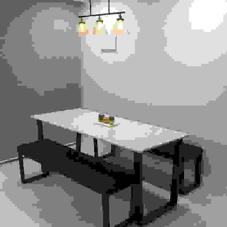 사다리꼴 블랙스틸 테이블-비앙코카라라-750x1800,H750mm 모던스타일 다이닝 룸 by MARBLEHOLIC 모던