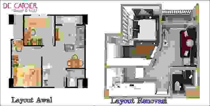 Denah awal dan denah renovasi Oleh De' Catoer design & build Minimalis