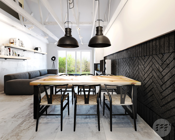365 Stopni Industrial style dining room Wood Wood effect