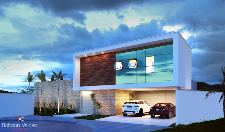 Fachada Contemporânea Casas modernas por Robson Veloso Arquitetura Moderno Madeira Efeito de madeira