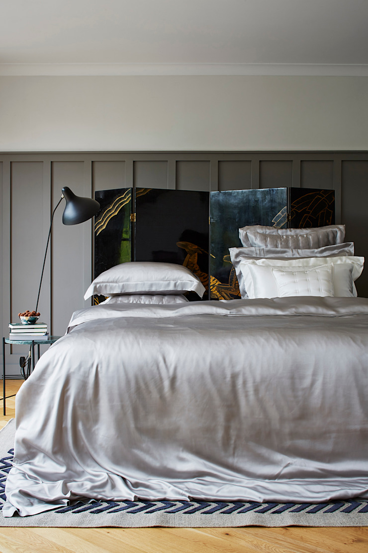 Silver Grey silk bed linen: classic  by Gingerlily, Classic Silk Yellow