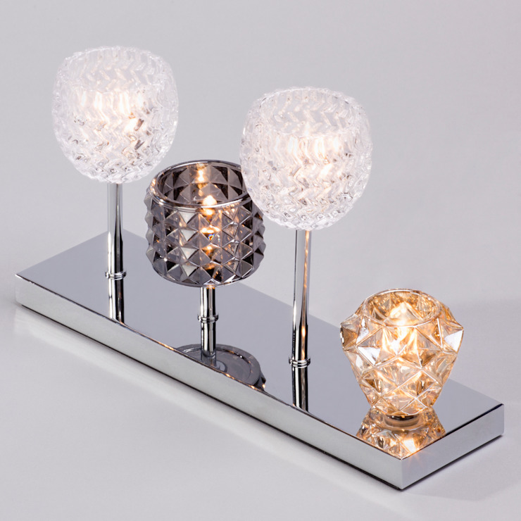Gatsby 4 Light Glass Table Lamp - Chrome Litecraft SoggiornoIlluminazione Vetro