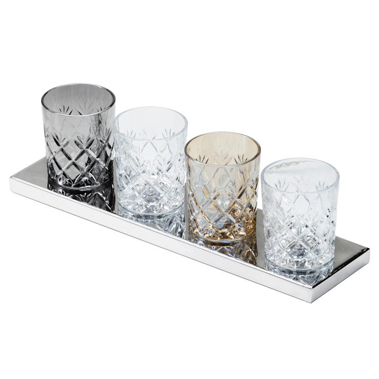 Gatsby Crystal Tumbler 4 Light Table Lamp - Glass and Chrome Litecraft SoggiornoIlluminazione