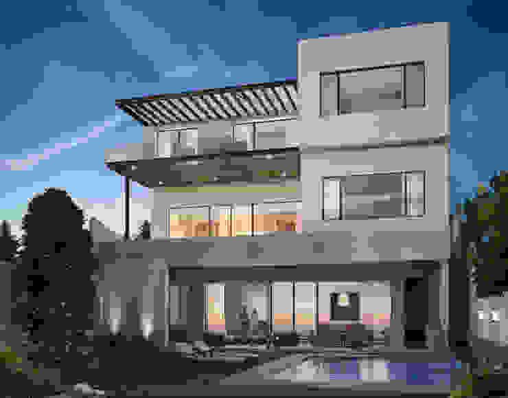 FACHADA POSTERIOR Rousseau Arquitectos Piscinas de estilo moderno Blanco