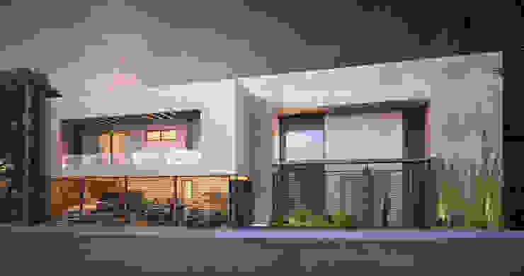 FACHADA PRINCIPAL Rousseau Arquitectos Casas estilo moderno: ideas, arquitectura e imágenes Blanco