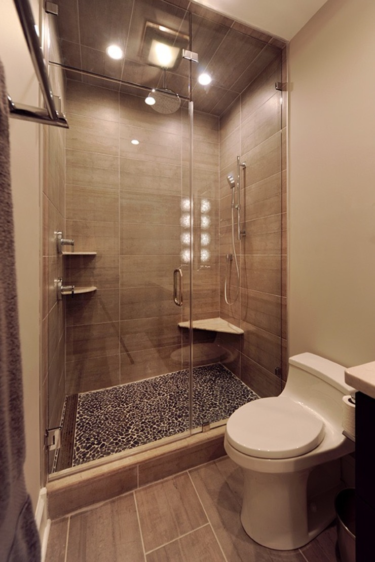 Modern Bathroom With Large Shower Olamar Interiors, LLC Modern bathroom Tiles Grey