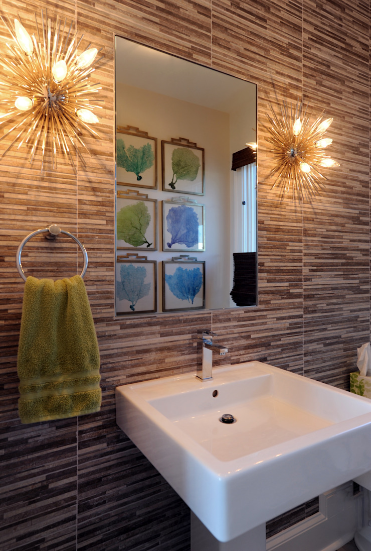 Modern Powder Room Olamar Interiors, LLC Modern bathroom Tiles Grey