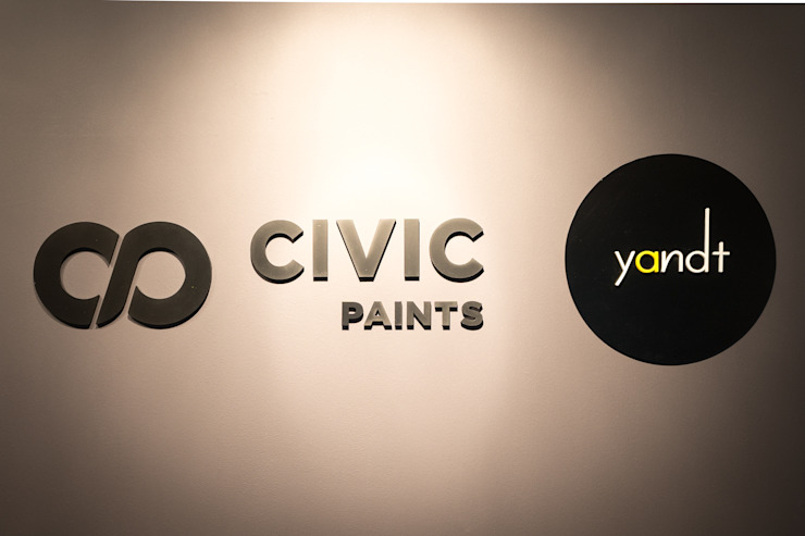 Y&T and Civic Paints Office Industrial style offices & stores by Y&T Pte Ltd Industrial