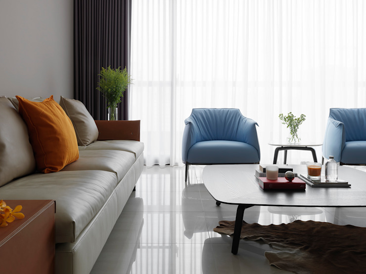 L HOUSE 现代客厅設計點子、靈感 & 圖片 根據 夏沐森山設計整合 現代風