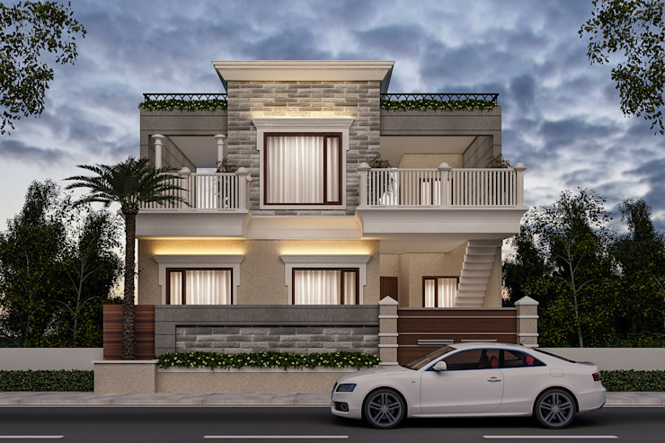 3D view after selecting all material Classic style houses by Square Designs Classic