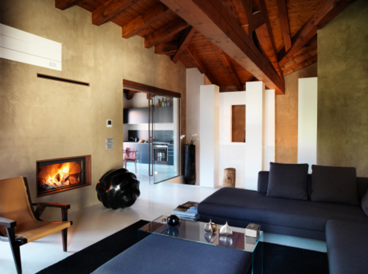 Zona giorno Daniele Franzoni Interior Designer - Architetto d'Interni Soggiorno moderno Legno Beige