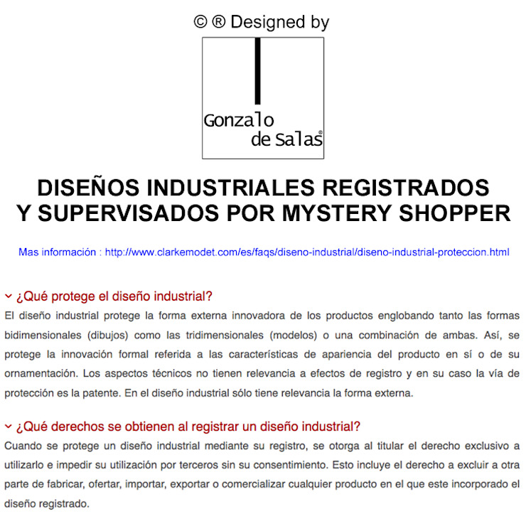DISEÑOS INDUSTRIALES REGISTRADOS de GONZALO DE SALAS Moderno