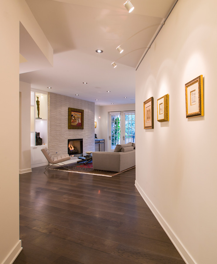 McLean Transitional Modern Corridor, Hallway and Staircase by FORMA Design Inc. Modern