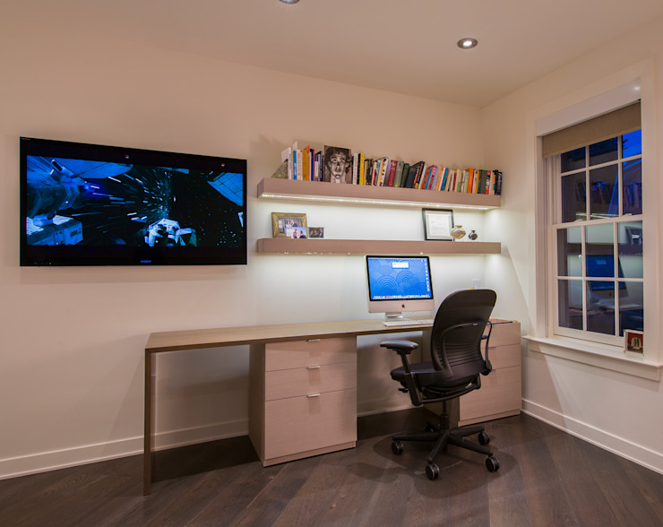 McLean Transitional Modern Study Room and Home Office by FORMA Design Inc. Modern