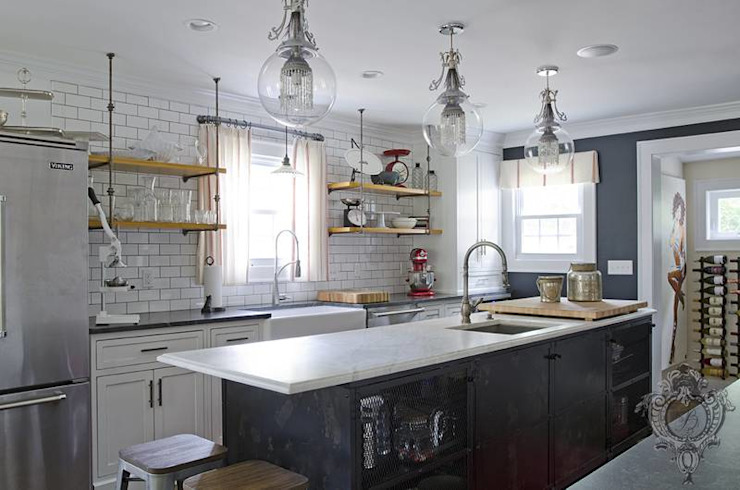 Kitchen Island Industrial style kitchen by Kellie Burke Interiors Industrial